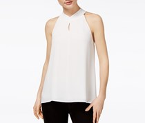 Bar III Tie-Back Keyhole Top, Washed White