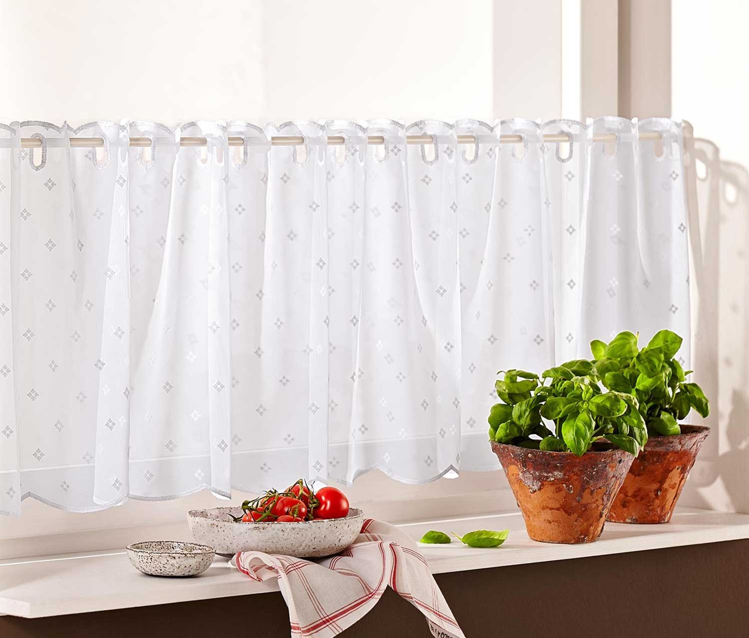 Bistro Curtain, White