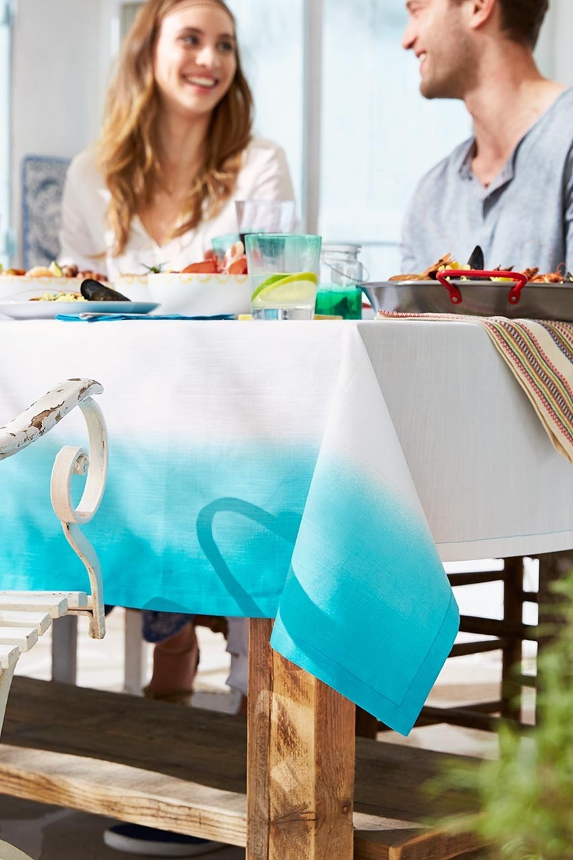 Table Cloth, Dip Dye, Double, Blue