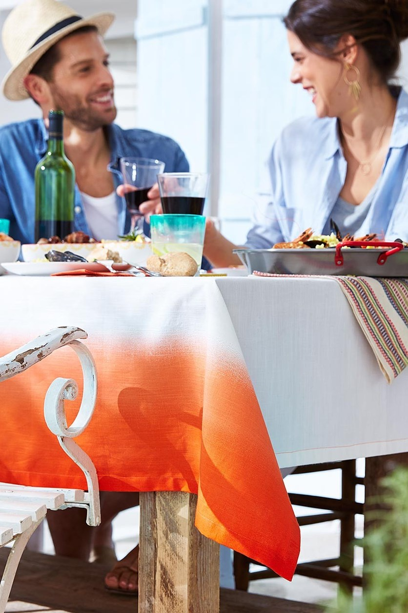 Table Cloth, Double, Orange-White