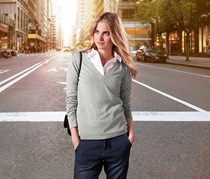 Women's V-neck Pullover, Light Gray