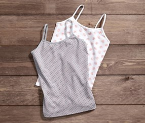 Girl's Vest, 2 pieces, Heather Gray Dotted/White Printed
