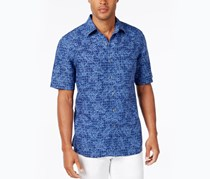 Men's Big & Tall Naples Printed Shirt, Blue Combo