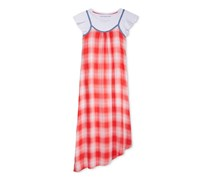 Tommy Hilfiger Big Girls 2-Pc. T-Shirt & Plaid Maxi Dress, Red/White