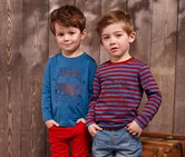 Boy's Shirt, Long Sleeve, 2 pieces, Red-Blue Striped/Blue