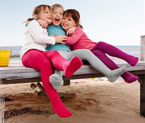 Girl's Tights 3 Pairs, Fuchsia/Light Gray/Pink Mealy