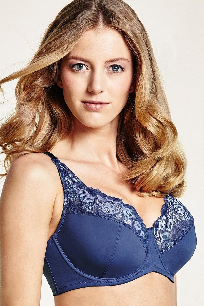 Women's Underwired Bra, Lace, Blue