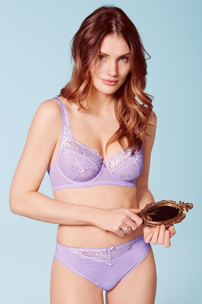 Women's Underwired Bra, Lace, Lilac