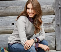 Women's Cashmere Pullover, Heather Gray