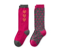 Girl's Knee Socks 2 Pairs, Fuchsia/Gray