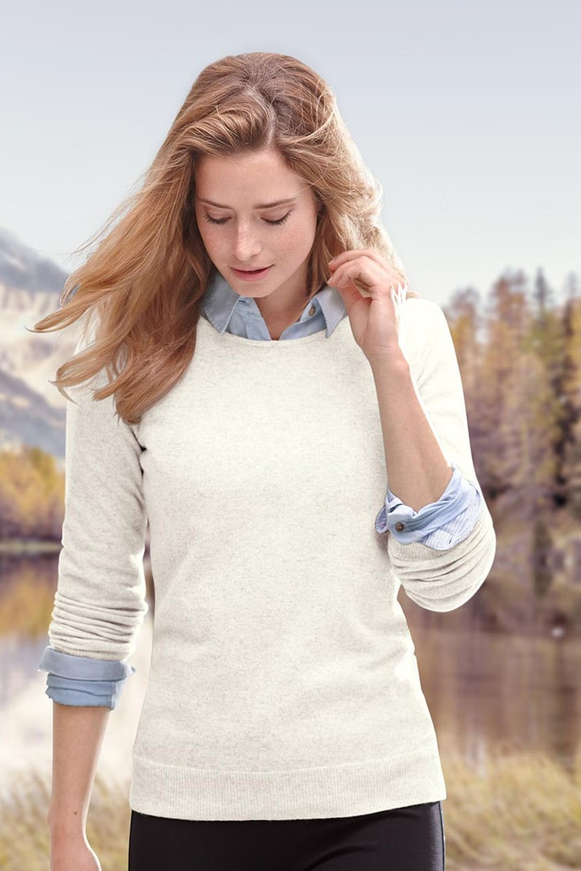 Women's Cashmere Pullover, Light Beige