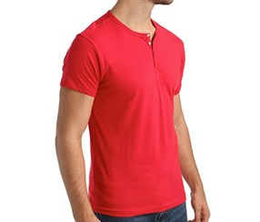 Papi Knit Jersey Cotton Stretch Short Sleeve Henley, Red
