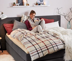 Flannelette Duvet Set, Checkered, Double, Cream-Red-Brown