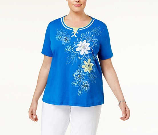 Plus Size Corsica Lace-Up Embroidered Top, Cobalt