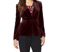 Tahari Women's Velvet Notched Jacket, Crimson Red