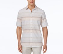 Tasso Elba Linen Horizontal-Stripe Shirt, Orange Combo