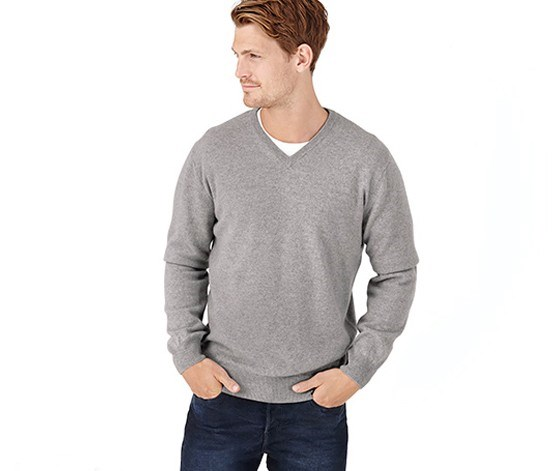 Men's Pullover Cashmere, Heather Gray