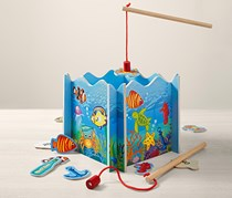 Wooden Fishing Game, Blue
