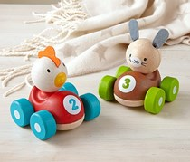 Wooden Racing Car, Red-Blue/Green-Brown