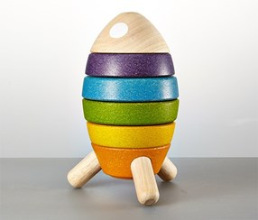 Wooden Rocket, Yellow/Orange/Green/Blue/Violet