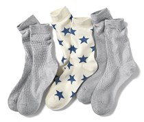 Women's Socks, 3 pairs, Gray/White