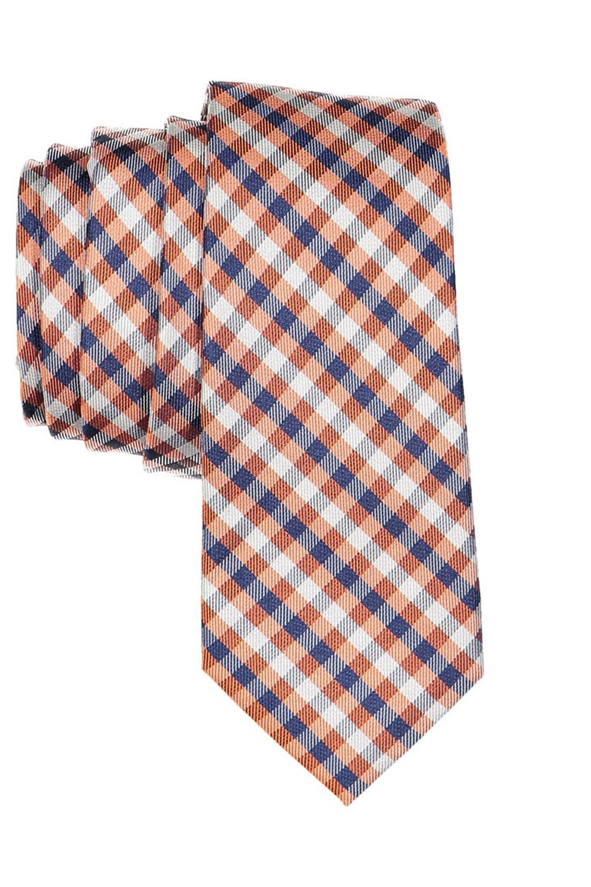 Boy's Plaid Neck Tie, Orange