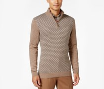 Tasso Elba Pattern Quarter-Zip Sweater, Cocoa Bean Heather