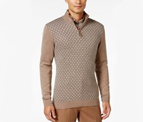 Men's Zip Diamond Knit Patch Sweater, Cocoa Bean
