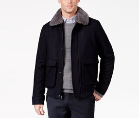 Tasso Elba Men's Wool Blend Flight Jacket, Navy