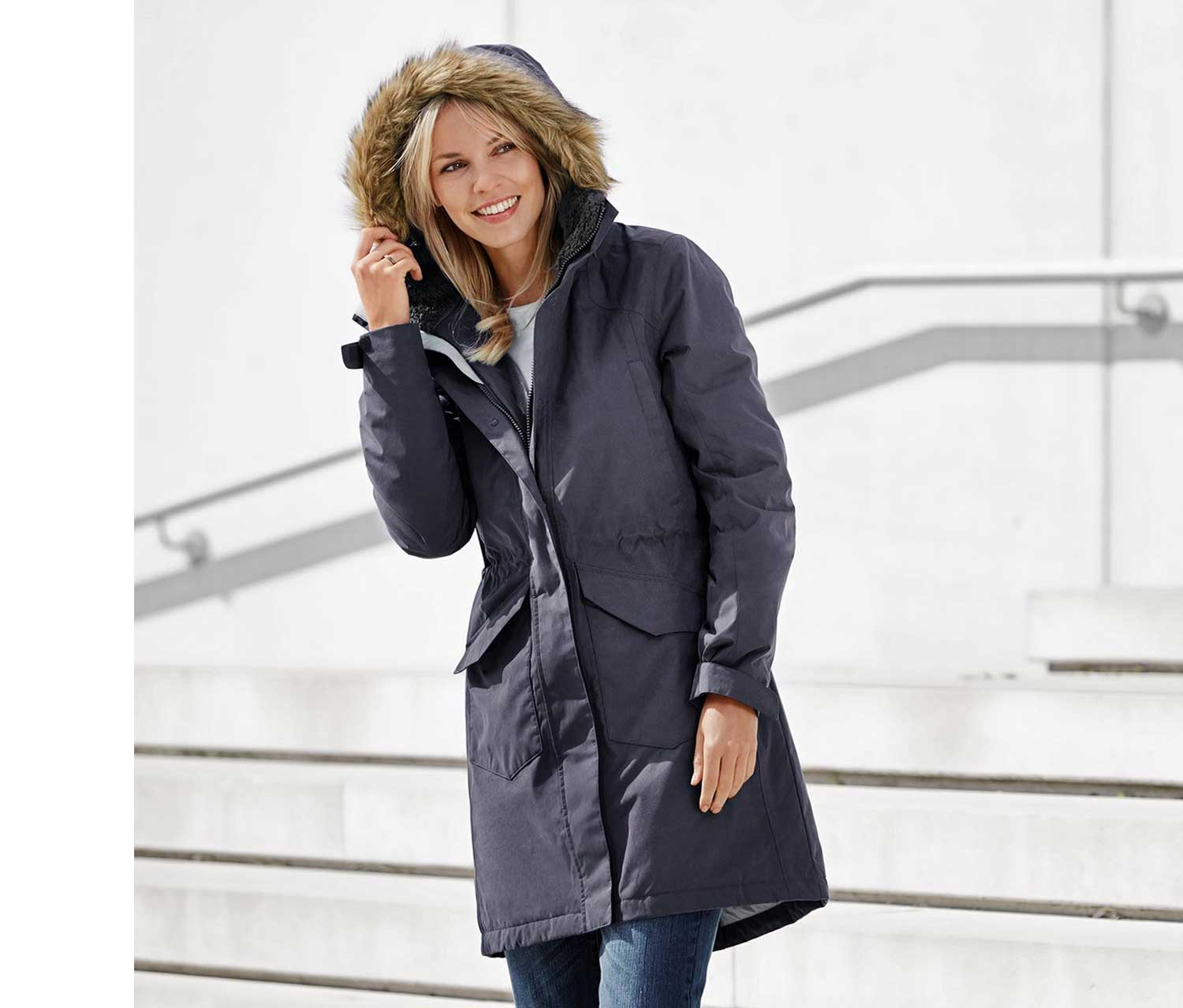 Women's Thermal Coat, Anthracite