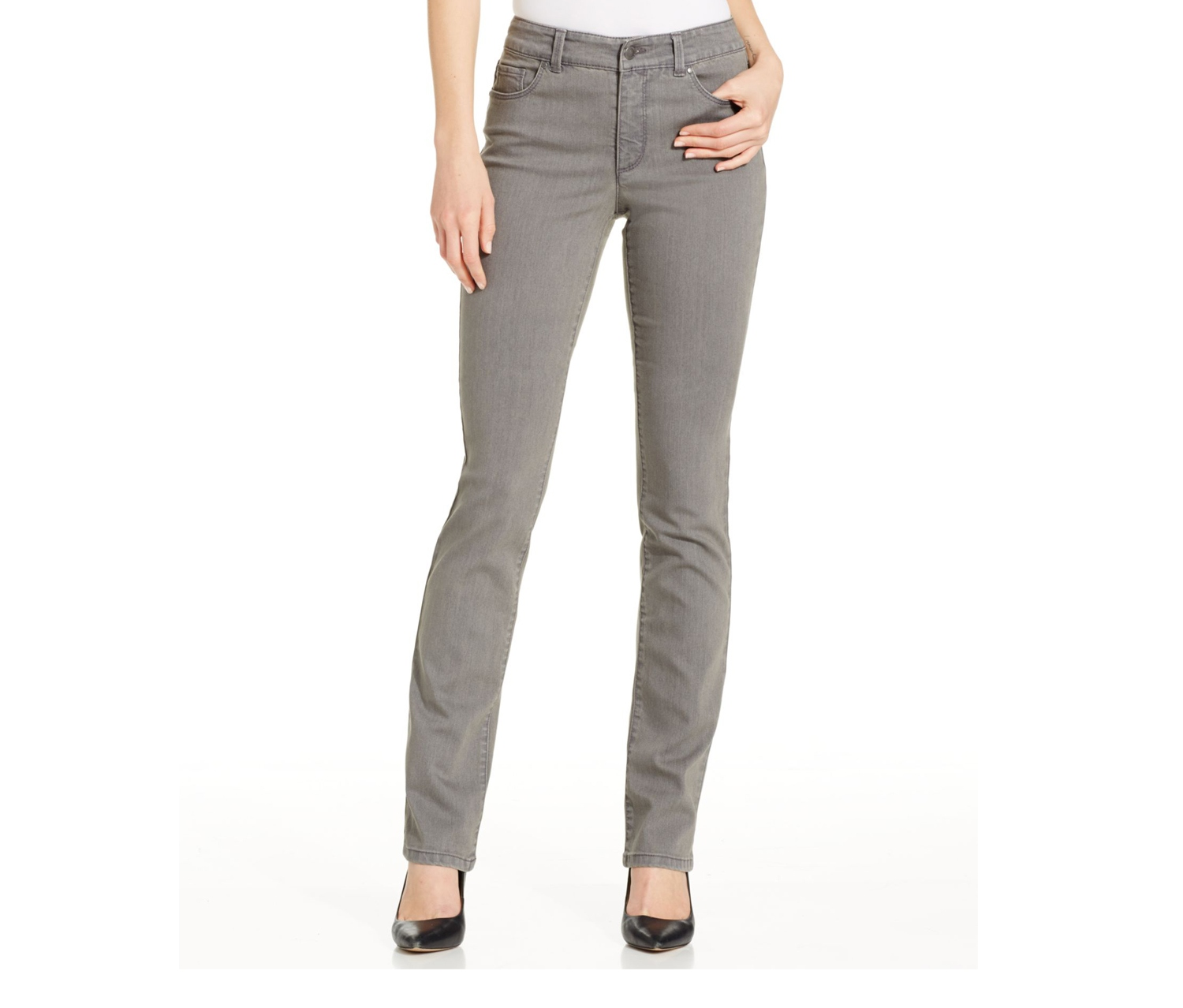 Charter Club Tummy-Slimming Straight-Leg Jean, Canyon Grey
