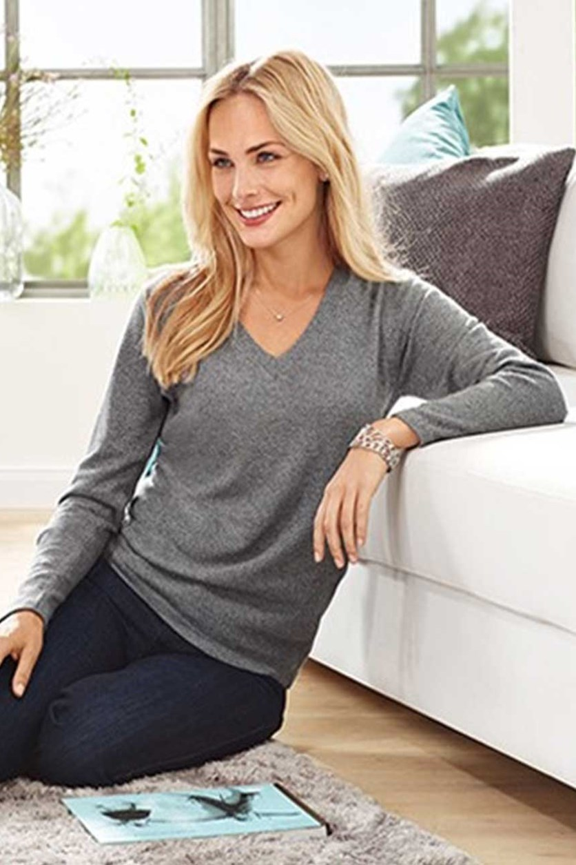 Women's Pullover, V-Neck, Cashmere, Gray