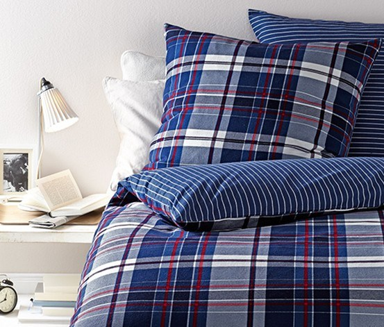 Reversible Flannelette Duvet Set, Blue/White