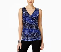 INC Women's Printed Ruched Surpliced Top, Inky Animal