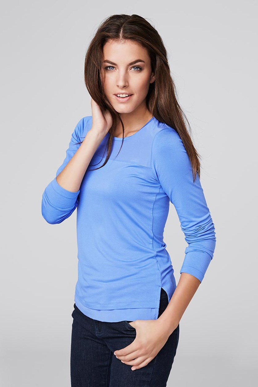 Women's Silk Shirt, Longsleeve, Blue