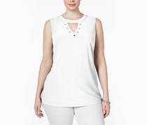 Women's Plus Size Grommet-Embellished Top, Bright White