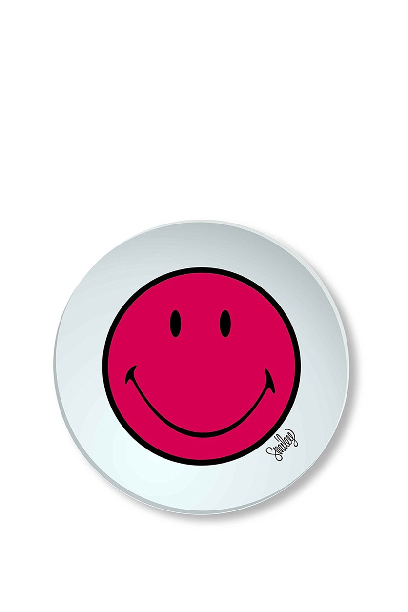 Smiley Plate, White/Red