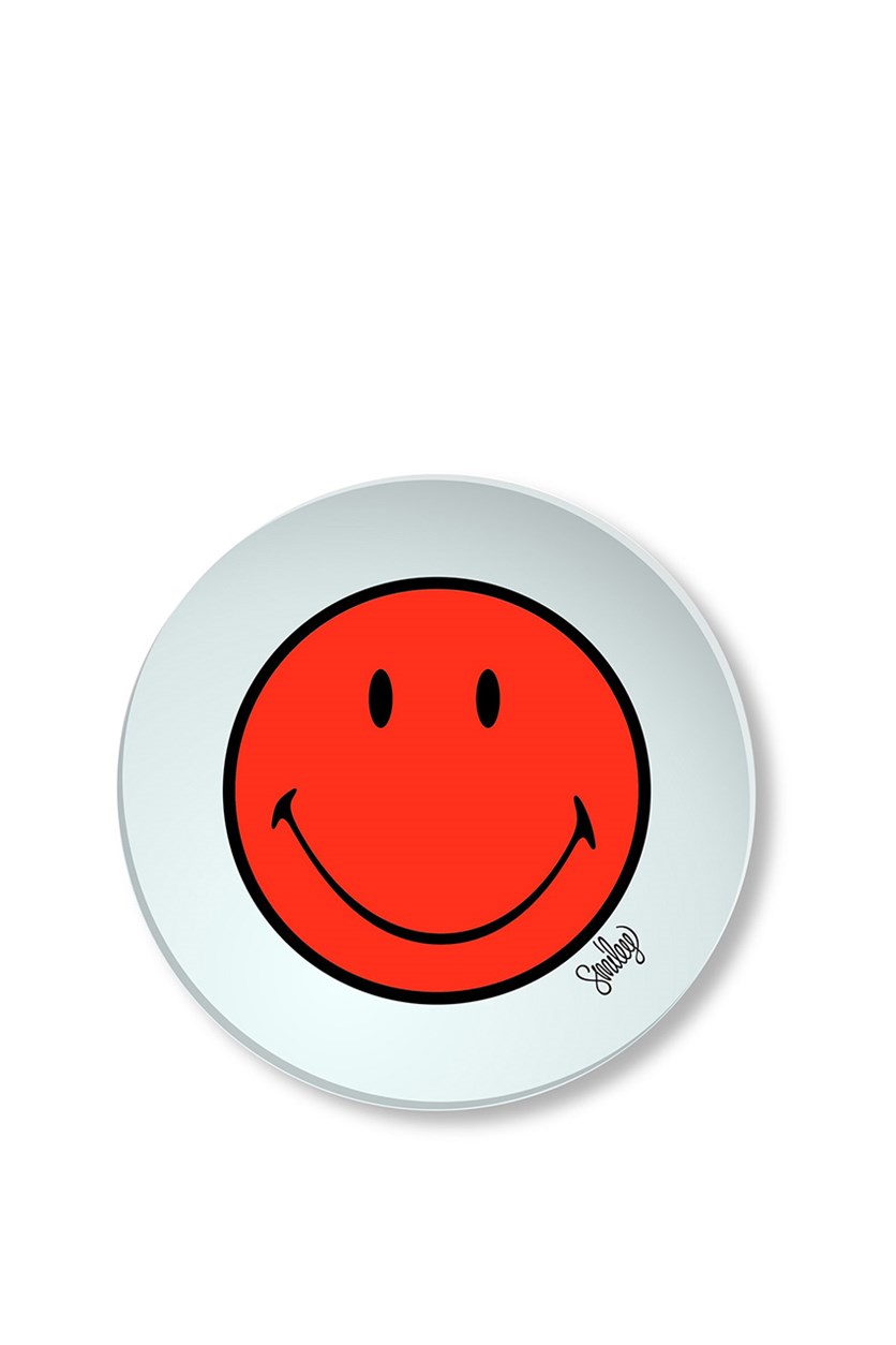 Smiley Plate 20 cm, Off White/Red