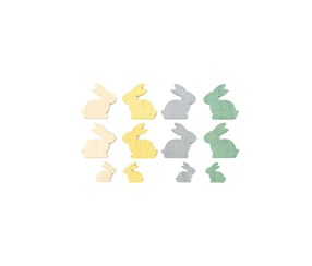 Wooden Easter Decoration, Rose/Yellow/Blue-Gray/Green