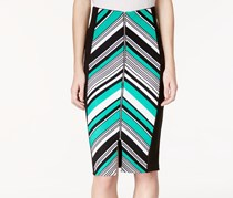 XOXO Printed-Front Midi Pencil Skirt, Green Multi