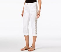 Inc International Concepts Petite Linen Embellished Cargo Pants, White