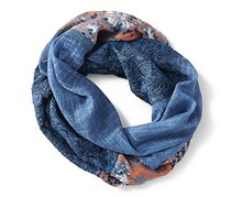 Women's Tube Scarf, Blue/Coral