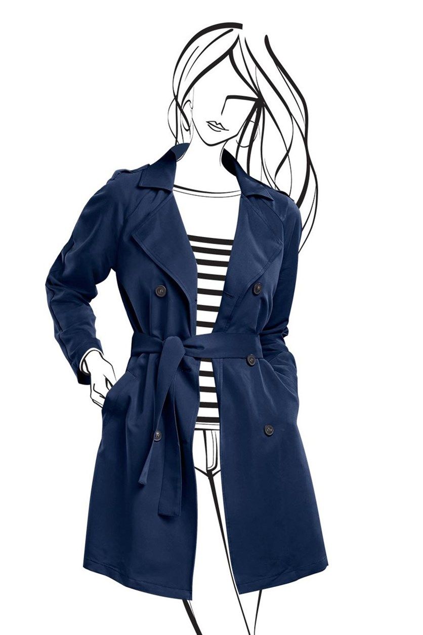 Women's Trenchcoat Sporty, Blue