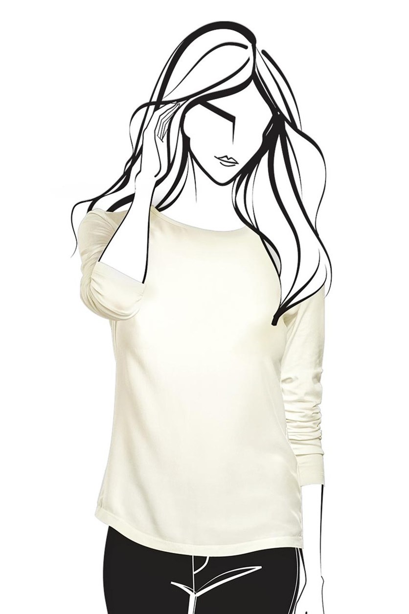 Women's Blouse with Silk, White
