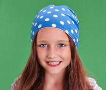Girls Beanie, Blue/White/Red