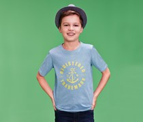 Boy's Shirt, Short Sleeve, Blue/White/Yellow