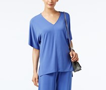Alfani V-neck High-low T-shirt, Alf Pery Blue