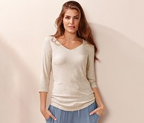Women's Ribbed T-shirt, Beige