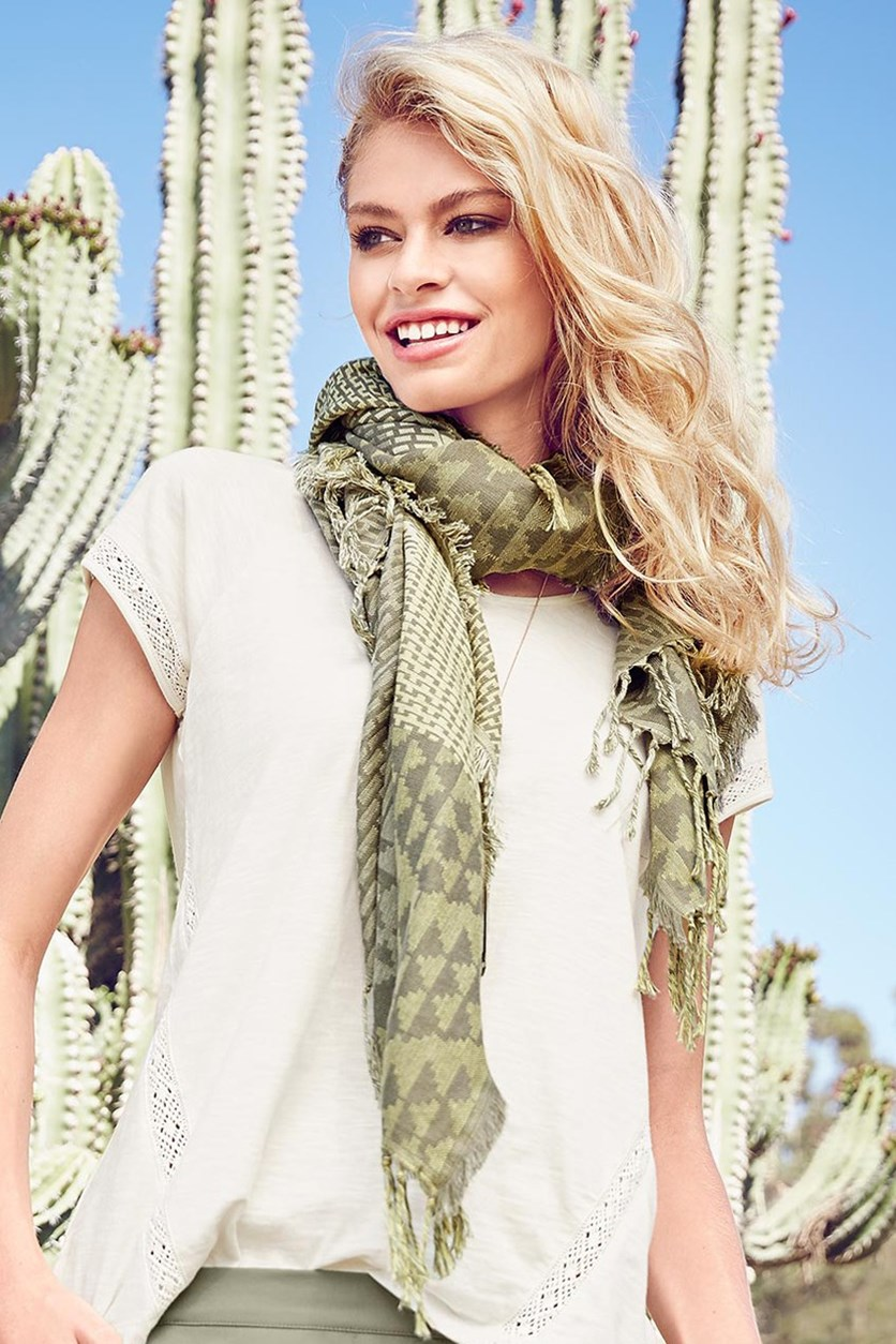 Women's Woven Scarf, Cube, Olive