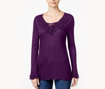 INC Lace-Up Ruffled Top, Purple Paradise